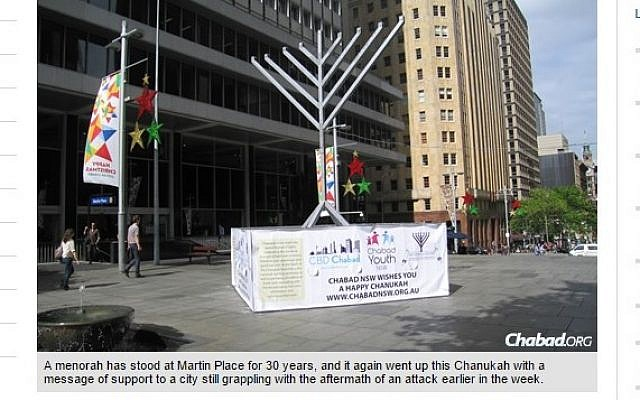 Screenshot of the 32-foot menorah set up in Martin Place in Sydney, Australia, December 2014. (Photo credit: Chabad.org/screen capture)