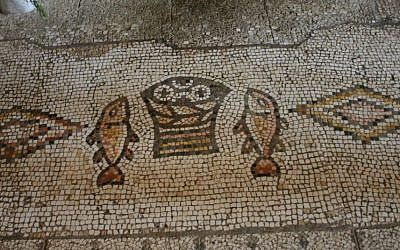 Mosaics commemorate the miracle of the loaves and fish (photo credit: Shmuel Bar-Am)