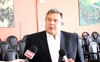Greek politician Panos Kammenos (photo credit: YouTube screenshot)