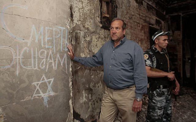 Rabbi Yechiel Eckstein in Ukraine (courtesy)