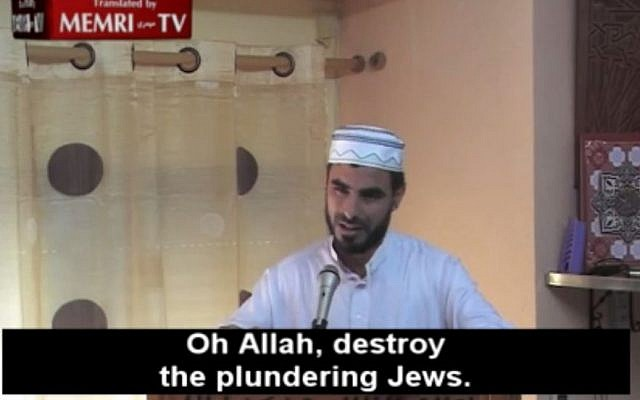 A sermon given by Sheik Saleheoldine El Moussaoui of Azuqueca De Henares, near Madrid, posted online in August 2014, has since been removed. (Photo credit: MEMRI TV screenshot)