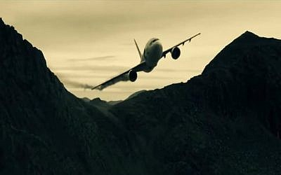 A computer-generated image of a commercial airliner crashing into the ground. The video was produced by al-Qaeda affiliates in support of the December 2014 issue of Inspire magazine, a jihadist publication that promotes international terrorism. (screen capture: YouTube)