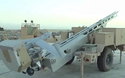 An illustrative image of a US ScanEagle drone, which is believed to be the basis of the new Iranian suicide drone tested during a drill on December 27, 2014. (Photo credit: Screenshot/YouTube)