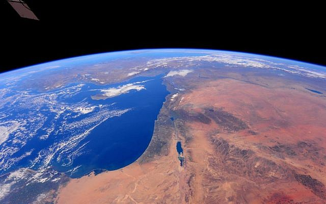 Israel from space, as seen in a series of photos taken by astronaut Barry Wilmore at the International Space Station on December 25, 2014 (photo credit: NASA)