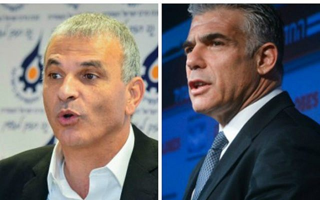 Yair Lapid (R), leader of the Yesh Atid party and Moshe Kahlon (L), head of the Kulanu party (photo credit: Flash90/Channel 2 News)