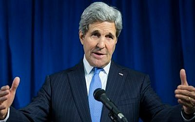 US Secretary of State John Kerry delivers remarks during a news conference at the U.S. Embassy, on Tuesday, Dec. 16, 2014, in London (photo credit: AP Photo/Evan Vucci)