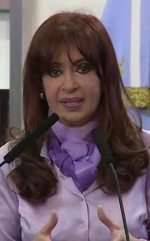 Argentinian President Cristina Fernandez de Kirchner speaking on October 1, 2014. (screen capture: YouTube/AFP News Agency)