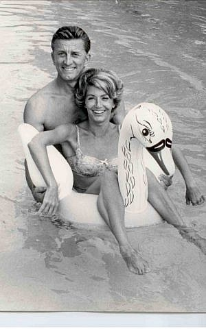 Kirk and Anne Douglas in the pool together, circa 1960. (Courtesy of Kirk and Anne Douglas/JTA)