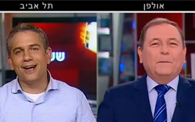 Jewish Home candidate Yinon Magal (left) told Channel 2's Oded Ben-Ami (right), on December 28, 2014 he had 'recently' gotten high (screen capture: Channel 2)