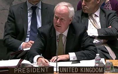 British United Nations Ambassador Mark Lyall Grant. (screen capture: YouTube/NewsFromUkraine)
