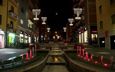 Cosenza, Italy's Via Arabia decorated with menoras for the holidays. (Mario Tosti)