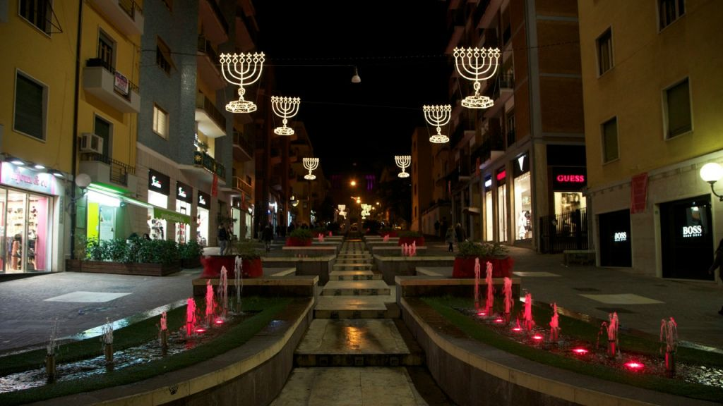 Cosenza, Italy's Via Arabia is decorated with menoras for the holidays. (Mario Tosti)