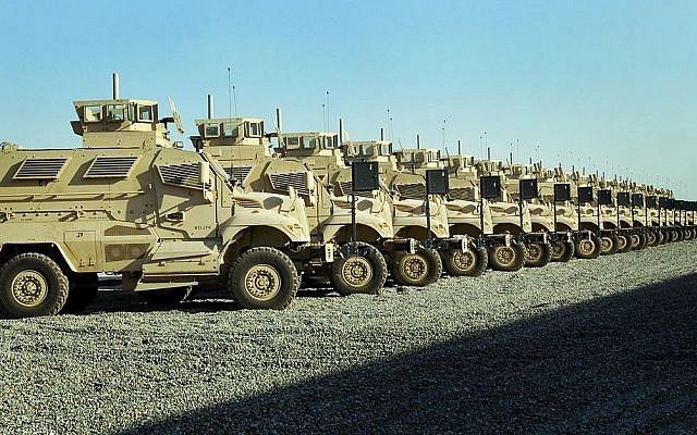 Illustrative photo of a shipment of MRAPs -- mine-resistant, ambush-protected vehicles (photo credit: US Army/Sgt. Mark B. Matthews, 27th Public Affairs Detachment/Wikimedia)