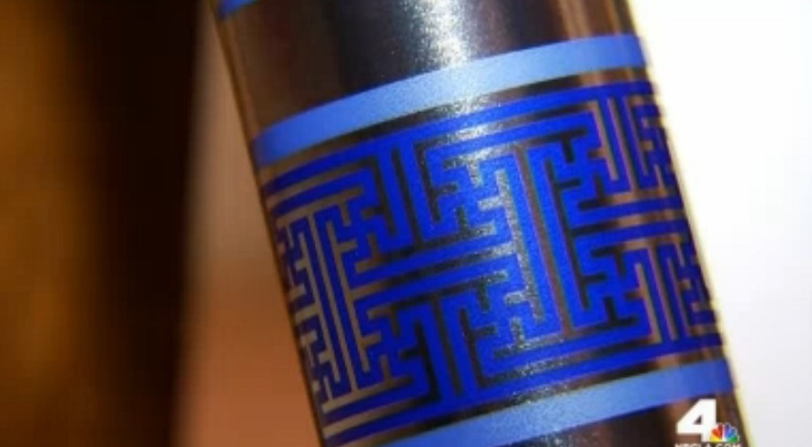 Swastika gift wrap Hanukkah has image that is Nazi