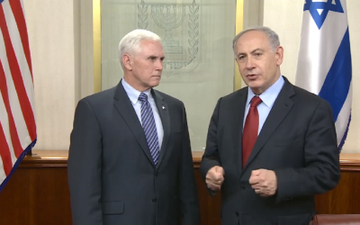Prime Minister Benjamin Netanyahu (R) meets with US Indiana Governor Mike Pence in Netanyahu's office in Jerusalem on December 29, 2014. (screen capture: Facebook/The Prime Minister of Israel/GPO)