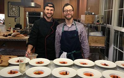 Yehuda Malka on left, Dan Rabinowitz on right. Founders of ModernistKosher.com and hosts of a kosher supper club in the DC suburbs. (Ben Zehavi/The Times of Israel)