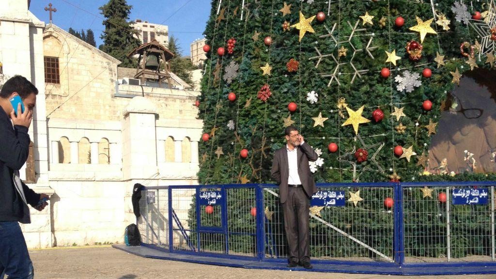 nazareths christmas tree in the citys main plaza wednesday december 17 2014