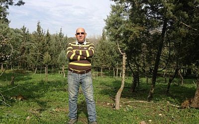 Yossi Jaeger, the Jewish farmer who grows some of Israel's Christmas trees (photo credit: Jessica Steinberg/Times of Israel)