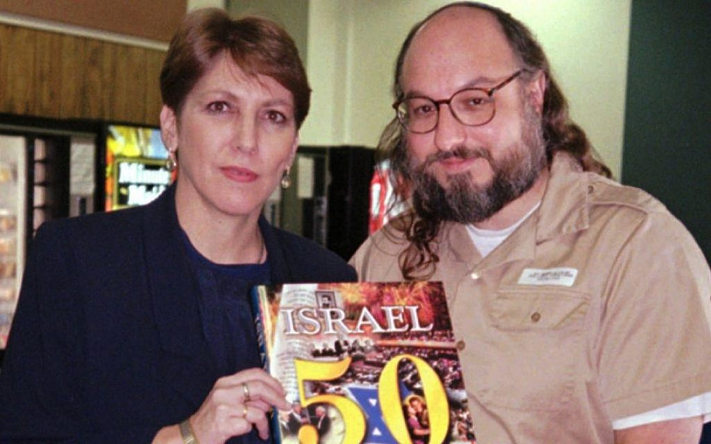 Jonathan Pollard in a December 17, 1997, photo with Israel's communications minister Limor Livnat, who visited him in prison in Butner, North Carolina (photo credit: AP/ Ayala Bar)