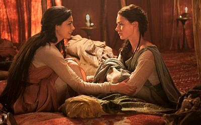 Morena Baccarin, left, as Rachel and Rebecca Ferguson as Dinah in the Lifetime miniseries 'The Red Tent.' (Joey L./Lifetime/JTA)