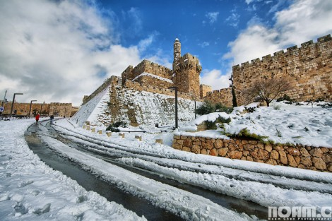 Jerusalem under the snow: Tower of David snowstorm (photo credit: Noam Chen)