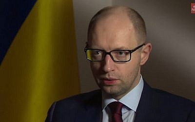 Ukrainian Prime Minister Arseniy Yatsenyuk. (screen capture: YouTube/BBC News)