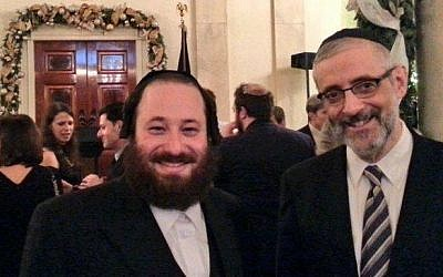 Rockland County majority leader and Hasidic lawmaker Aron Wieder (left) at the White House Hanukkah party, December 2014. (Twitter screenshot)