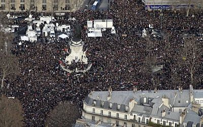 "Aerial view taken on January 11, 2015 shows people attending the Unity rally ""Marche Republicaine"" at the Place de la Republique (Republique's square) in Paris in tribute to the 17 victims of a three-day killing spree by local Islamists. (photo credit: AFP/KENZO TRIBOUILLARD)"