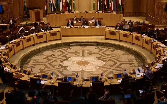 Arab League diplomats attend a meeting at the league's headquarters in Cairo on January 5, 2015. (AFP/Mohamed el-Shahed/File)