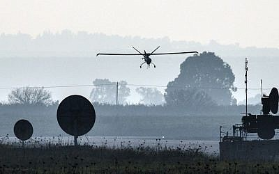 An IDF drone landing in an airfield on the Golan Heights, January 20, 2015. (Jack Guez/AFP)