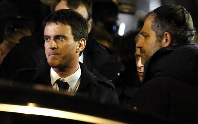 French Prime Minister Manuel Valls a demonstration on January 10, 2015 called by the Jewish Student's Union of France  at the Porte de Vincennes in eastern Paris in homage to the four victims of the January 9 attack on a kosher supermarket. (photo credit: AFP/ KENZO TRIBOUILLARD)