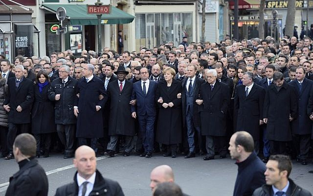 World leaders and local officials marching in Paris on January 11, 2015. (photo credit: AFP/ERIC FEFERBERG)