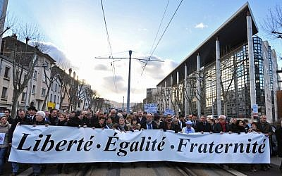 Some 50,000 people take part in a unity rally on January 11, 2015 in the central French city of Clermont-Ferrand. (photo credit: AFP/THIERRY ZOCCOLAN)