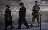 Illustrative photo of Jews in Paris, January 12, 2015. (AFP Photo/Joel Saget)