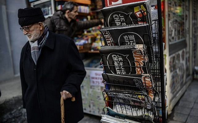 "A Turkish weekly is fronted with, ""Je Suis Charlie"" (I am Charlie) on January 14, 2015 at a store in Istanbul. (photo credit: AFP PHOTO/BULENT KILIC)"