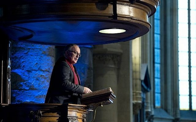 First Vice-President of European Commission Frans Timmermans delivers a speech after receiving an honorary degree during the 39th Foundation Day of the University of Maastricht in Maastricht on January 16, 2015. (photo credit: AFP/ANP/MARCEL VAN HOORN)