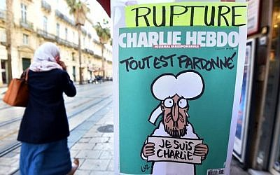 A sign that translates as 'Charlie Hebdo - Sold Out' at a newsstand in Montpellier on January 14, 2015 (photo credit: AFP/PASCAL GUYOT)