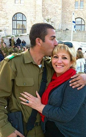Anett Haskia with her son Hossam, a soldier in the IDF's Golani Brigade. (courtesy)