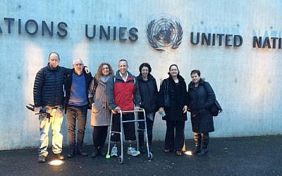 Members of a delegation of Israelis that testified to the UN probe on the Gaza conflict, outside of the UN building in Geneva, January 14, 2015 (Photo credit: Facebook page of Channel 10's Orr Heller)