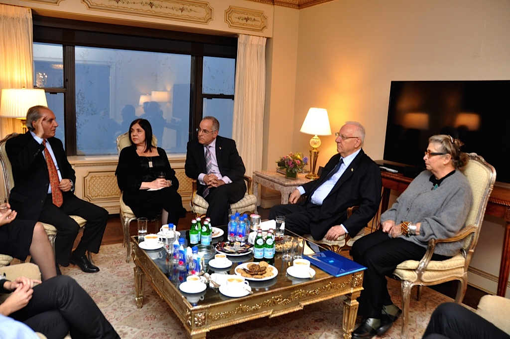 President Reuven Rivlin and his wife meet with the parents of slain IDF lone soldiers in New York, January 2015. (photo credit: President's Spokesperson)