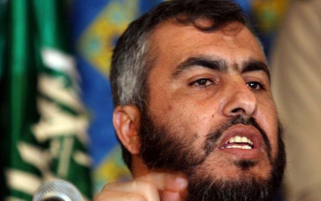 Hamas official Ghazi Hamad speaks during a press conference at a hotel in Mecca, Saudi Arabia, February 8, 2007 (photo credit: AP/Hasan Jamali)