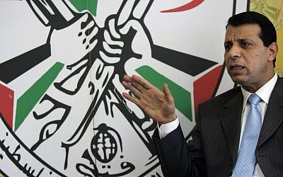 In this January 3, 2011 photo, Fatah leader Mohammed Dahlan speaks during an interview with The Associated Press in his office in the West Bank city of Ramallah. (AP/Majdi Mohammed)