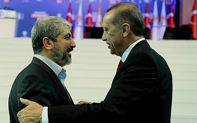 Turkey's Prime Minister Recep Tayyip Erdogan, right, and Palestinian Hamas leader Khaled Mashaal seen during the congress of Turkey's ruling Justice and Development Party in Ankara, Turkey, Sunday, Sept. 30, 2012 (AP/Kayhan Ozer)