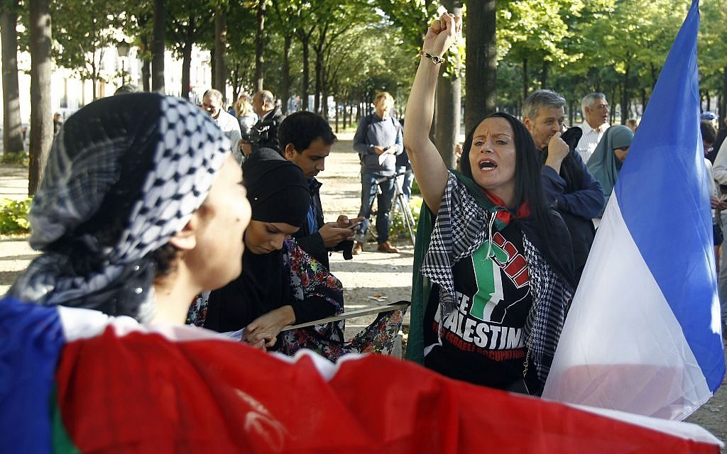Pro-Palestinian demonstrators chant anti-Israeli slogans at a Paris demonstration, August 20, 2014 (photo credit: AP/Remy de la Mauviniere)