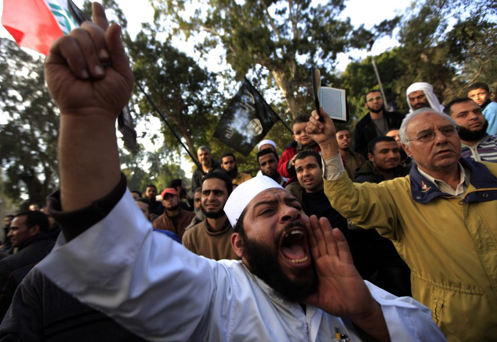 Illustrative: A protest held by Muslim Salafi groups against the French military attack on Mali, in front of the French embassy in Cairo, Egypt, Friday, January 18, 2013. (photo credit: AP/Khalil Hamra)