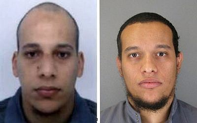 This photo provided by the Paris Police Prefecture Thursday, January 8, 2015, shows the suspects Cherif Kouachi, left, and Said Kouachi. (photo credit: AP/Prefecture de Police de Paris)