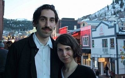 Ariel Kleiman and Sarah Cyngler in Park City, Utah, Jan. 26, 2015. 'Partisan,' the feature that Kleiman directed and co-wrote with Cyngler, premiered at the Sundance Film Festival there. (Anthony Weiss/JTA)