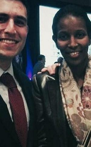 Daniel Mael with Ayaan Hirsi Ali, whom he got to know while trying to have her honorary Brandeis degree reinstated. (courtesy)