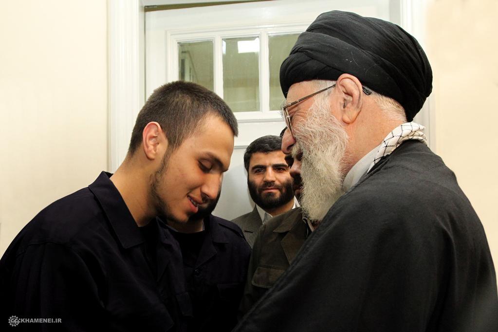 Iranian Supreme Leader Ayatollah Khamenei and Jihad Mughniyeh (photo credit: @khamenei_ir, Twitter)