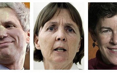 This panel of file photos shows attorneys David Bruck, left, July Clarke, center, and Miriam Conrad, right, who are the defense team for Boston Marathon bombing suspect Dzhokhar Tsarnaev. Jury selection for Tsarnaev's trial is scheduled to begin Monday, Jan. 5, 2015, in federal court in Boston. (Photo credit: AP/File)